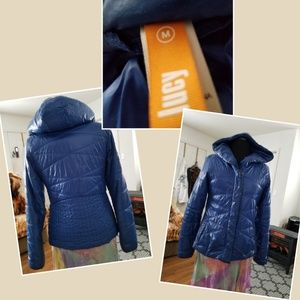 Lucy down puffer coat size medium  with hood